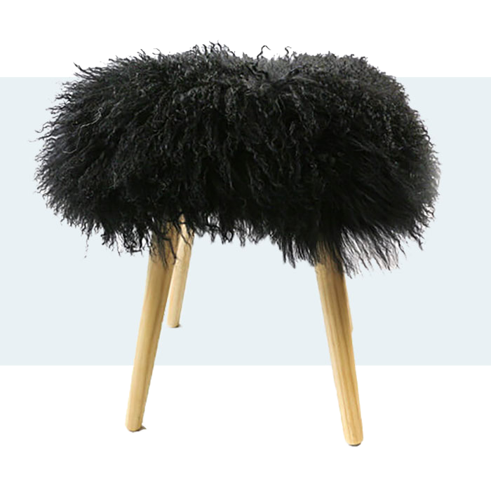These stool made from luxurous Mongolian sheepskin