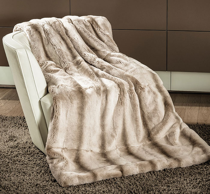 Rex rabbit chinchilla blanket put on Chair as decor