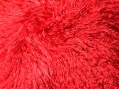 Mongolian Sheepskin Bean Bag color swatch red