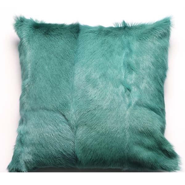 Goatskin Cushions peacock blue