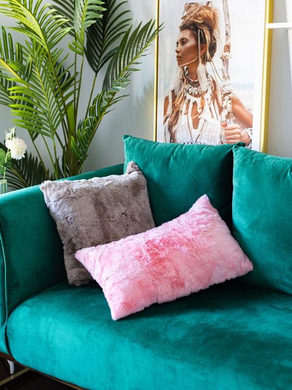 pink Rabbit Fur Pillow
