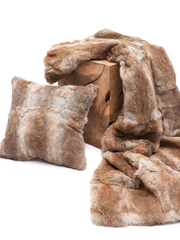 natural brown rabbit fur throw