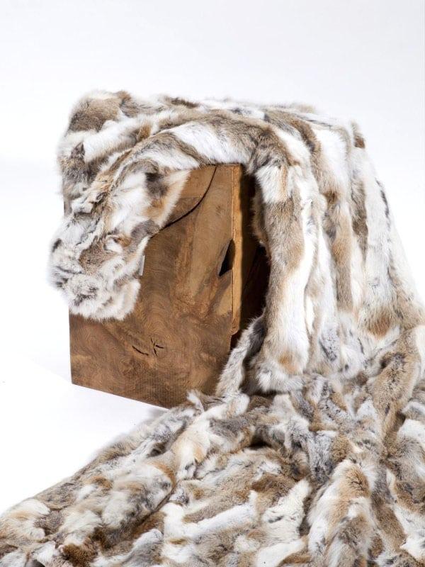 natural brown patch work rabbit fur throw