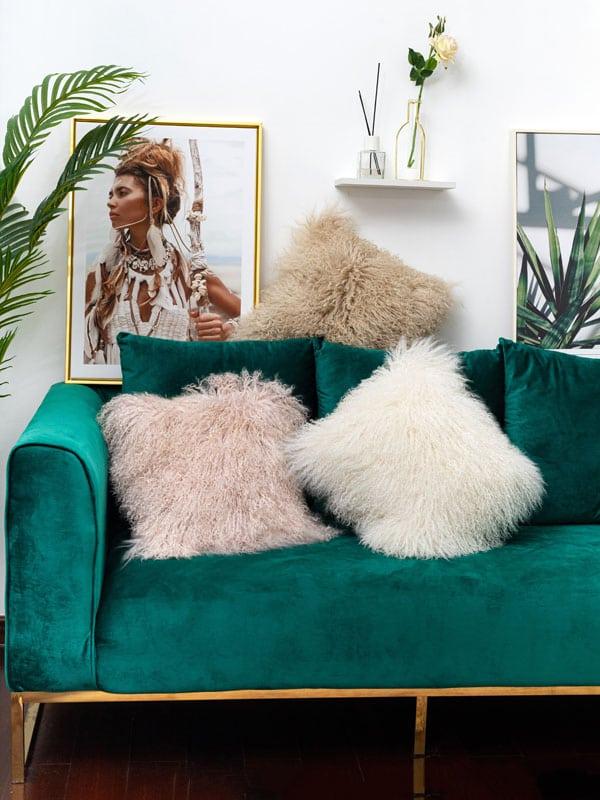 pink Mongolian Sheepskin Cushions in contemporary decor room