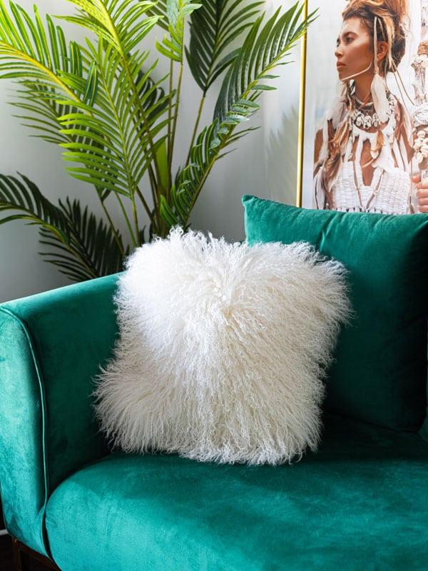 White Mongolian Sheepskin Cushions in contemporary decor room