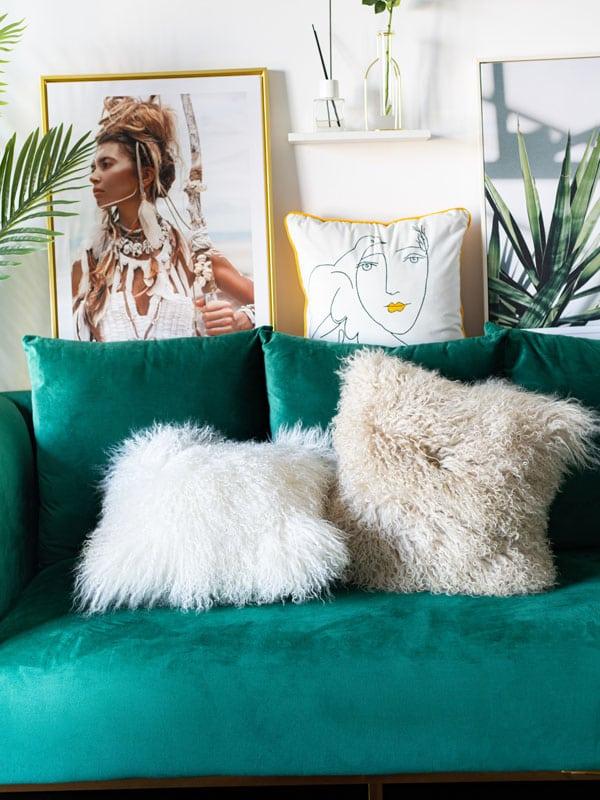 Mongolian Sheepskin Cushions in contemporary decor room