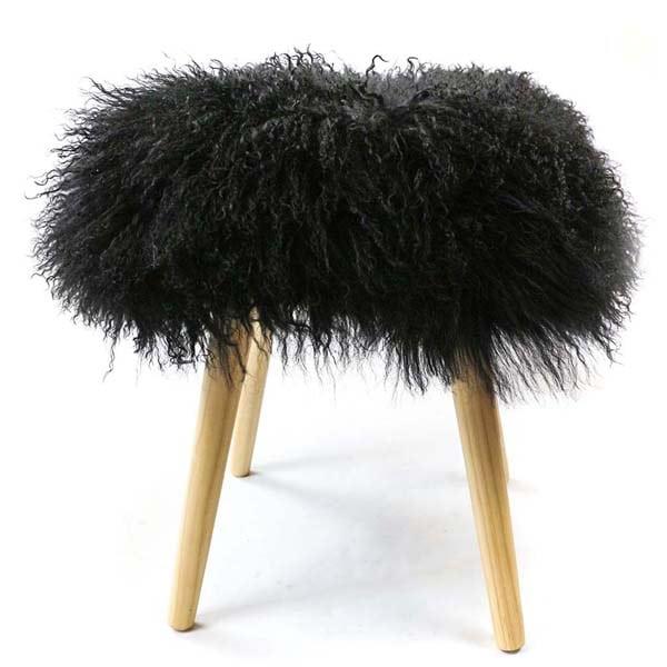 Mongolian Sheepskin Footstool black
