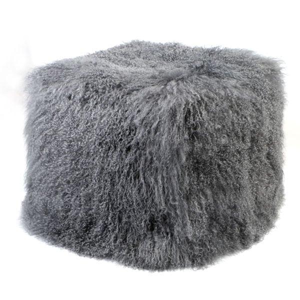 grey mongolian Sheepskin Pouf
