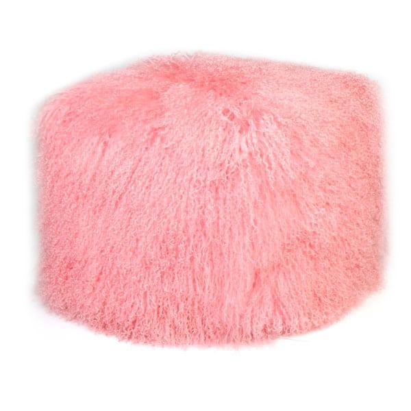 pink mongolian Sheepskin Pouf