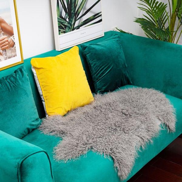Grey Mongolian Lamb Fur Rug on sofa