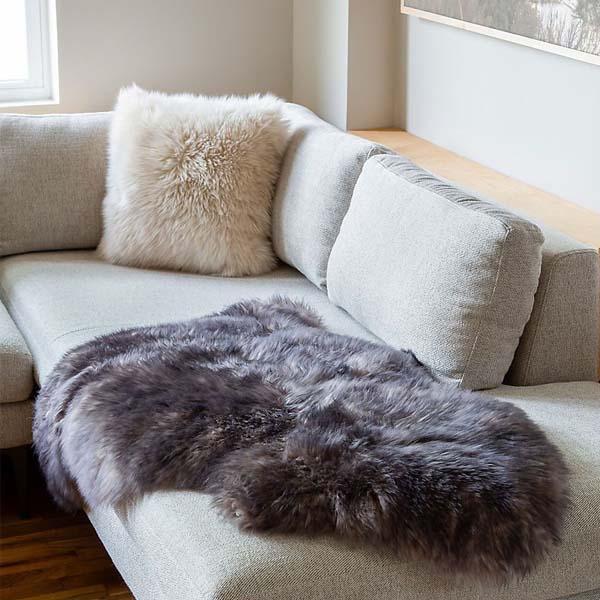 grey Sheepskin rug in living luxe