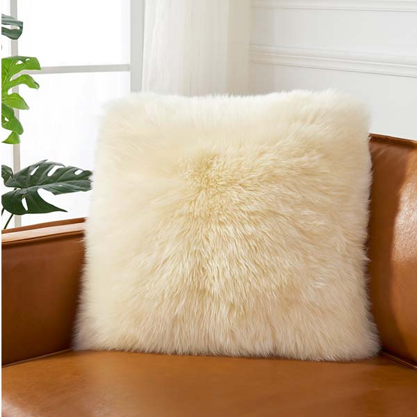 white Sheepskin pillow cover in living luxe
