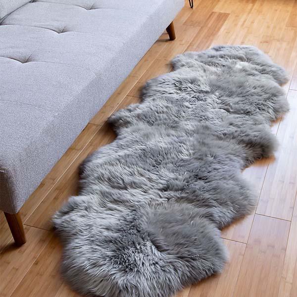 Australian Real Sheepskin double Rug in bedroom setting