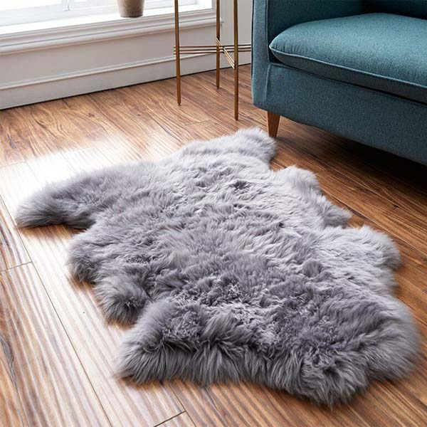 Australian Real Sheepskin Rug in bedroom setting
