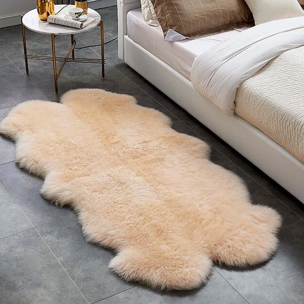 Australian Real Sheepskin 4 skins Rug in bedroom setting