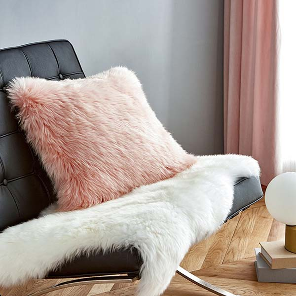 pink Sheepskin pillow cover in living luxe