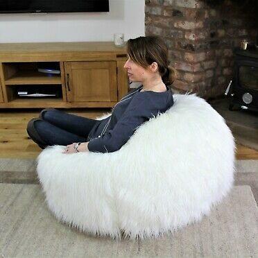 Mongolian Sheepskin Bean Bag in living room