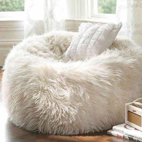 Mongolian Sheepskin Bean Bag white