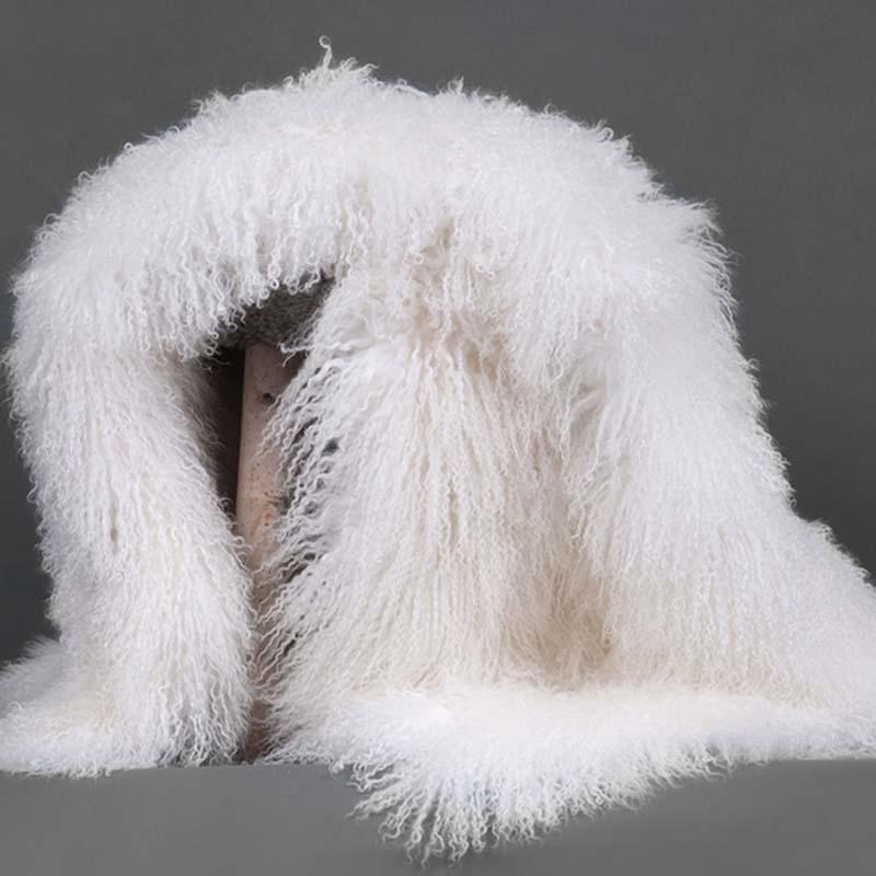 white mongolian fur throw