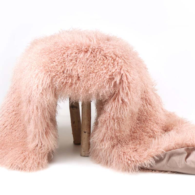 pink mongolian fur throw